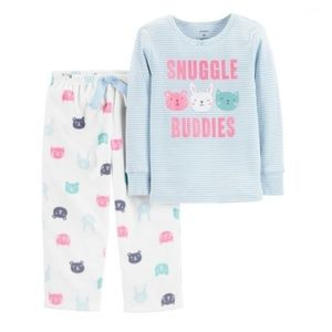 NWT Carters 2pc Snuggle Buddies Cotton & Fleece Pj